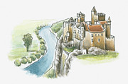 Pen Digital Art - Illustration Of Chateau De Beynac, Beynac-et-cazenac, Dordogne, France by Dorling Kindersley