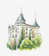 Midi Prints - Illustration Of Chateau De Mercues, Mercues, Lot, France Print by Dorling Kindersley