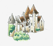 Pen Digital Art - Illustration Of Chateau Des Milandes, Dordogne, France by Dorling Kindersley