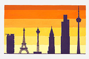 Paris Digital Art Posters - Illustration Of Hong Kong And Shanghai Bank, Eiffel Tower, Centre Point, Sydney Jin Mao Building, Shanghai Sears Tower, Chicago Cn Tower, Toronto Poster by Dorling Kindersley