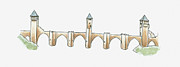 Pen Digital Art - Illustration Of Pont Valentre, Cahors, Lot, France by Dorling Kindersley