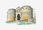 Medieval Entrance Digital Art Posters - Illustration Of Porte Des Tours, Domme, Dordogne, France Poster by Dorling Kindersley