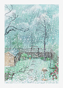 Shed Digital Art Posters - Illustration Of Rain Or Wet Snow Against A Window Looking Out Onto A Garden Poster by Dorling Kindersley
