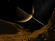 Enceladus Digital Art - Illustration Of Saturn From The Icy by Walter Myers