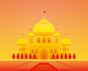 Mahal Digital Art Posters - Illustration Of Taj Mahal Poster by Takuya Kuriyama