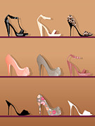 Shelf Digital Art - Illustration Of Three Rows Of Different Shaped And Patterned High Heel Shoes by Dilek Peker