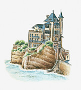 Building Exterior Digital Art - Illustration Of Villa Belza, Biarritz, Pyrenees-atlantiques, France by Dorling Kindersley