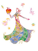 Holding Flower Digital Art Posters - Illustration Of Woman In Colourful Dress Holding Apple Poster by Tetsuro Okabe