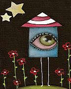 Folk Art Paintings - Im a House by  Abril Andrade Griffith