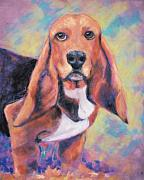 Dog Portraits Pastels Prints - Im All Ears Ears Print by Billie Colson