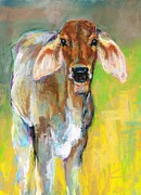 Cattle Pastels Prints - Im All Ears Print by Frances Marino