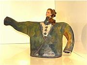 Music Ceramics Originals - Im Confussed Short and stout teapot 1 of 3 by Holly Justholly