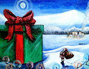 Snowy Night Painting Posters - Im going to need a bigger sleigh Poster by Shana Rowe