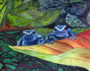 Dart Paintings - Im in Love with a Big Blue Frog by CB Woodling