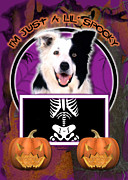 Collie Digital Art Posters - Im Just a Lil Spooky Border Collie Poster by Renae Frankz
