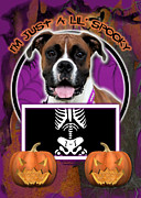 Boxer Digital Art Metal Prints - Im Just a Lil Spooky Boxer Metal Print by Renae Frankz