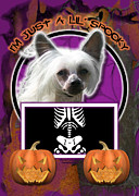 Hairless Digital Art Posters - Im Just a Lil Spooky Chinese Crested Poster by Renae Frankz