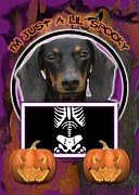 Dachshund Digital Art Framed Prints - Im Just a Lil Spooky Dachshund Framed Print by Renae Frankz