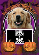 Retrievers Digital Art Metal Prints - Im Just a Lil Spooky Golden Retriever Metal Print by Renae Frankz