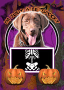 Chocolate Lab Digital Art Posters - Im Just a Lil Spooky Labrador Poster by Renae Frankz