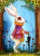 Alice In Wonderland Painting Metal Prints - Im late Metal Print by Lucia Stewart