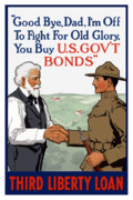 War Loan Framed Prints - Im Off To Fight For Old Glory Framed Print by War Is Hell Store