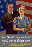 American Flag Digital Art Posters - Im Proud... My Husband Wants Me To Do My Part Poster by War Is Hell Store