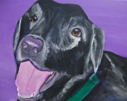 Labrador Retriever Paintings - Im Ready for a Kiss by Roger Wedegis