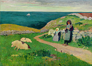 Pastoral Landscape Framed Prints - IMA229004Young Breton Girls in the Field Framed Print by Henry Moret