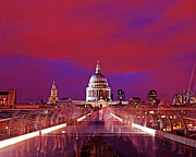 Busy Photo Originals - Image St Pauls from Millennium Bridge London at Night by Chris Smith