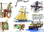 Tall Ship Drawings Prints - Images Of Tallship Lynx Print by Robert P Hedden
