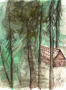 Mountain Scene Drawings Prints - Imaginary Cabin Print by Windy Mountain