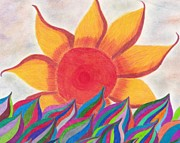 Sunsets Drawings Posters - Imaginations Sun Poster by Laurie Gibson