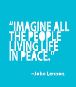 John Lennon Art Posters - Imagine in Blue Poster by Cindy Greenbean