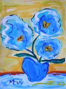 Outsider Art Paintings - Imagine in Blue by Mary Carol Williams