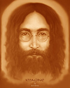 John Lennon Image Pastels - Imagine by Reb Benno