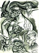 Fantasy Creatures Drawings Framed Prints - Imaginings Framed Print by Jamie Jonas