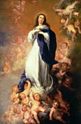 Virgin Mary Paintings - Immaculate Conception of the Escorial by Esteban Murillo