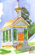 Knob Painting Posters - Immanuel Lutheran Church in May Sunshine Poster by Kip DeVore