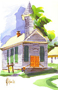 Knob Painting Posters - Immanuel Lutheran Church in Springtime Poster by Kip DeVore