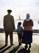 Immigrant Framed Prints - Immigrants: Ellis Island Framed Print by Granger