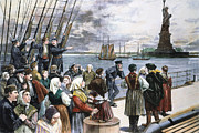Liberty Island Framed Prints - Immigrants On Ship, 1887 Framed Print by Granger