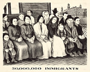 Statue Portrait Prints - Immigrants. Shows A Group Of Immigrants Print by Everett