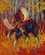 Trees Paintings - Imminent Charge - Bull Moose by Marion Rose