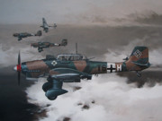 Bomber Painting Framed Prints - Imminent Storm Framed Print by Curtis Chapline