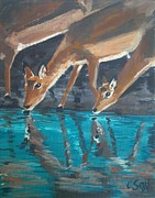 Deer Drinking Water Prints - Impala reflections Print by Cecile Smit