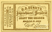 Post-civil War Prints - Impeachment Ticket, 1868 Print by Photo Researchers