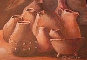 Jugs Prints - Imperfect Indian Pottery Print by Janna Columbus