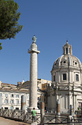 Church Posters - Imperial Fora with the Trajans Column and the Church Santissimo Nome Di Maria.  Rome Poster by Bernard Jaubert