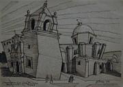 Texas Drawings - Impression 1 San Jose Mission San Antonio Texas by Lester Glass